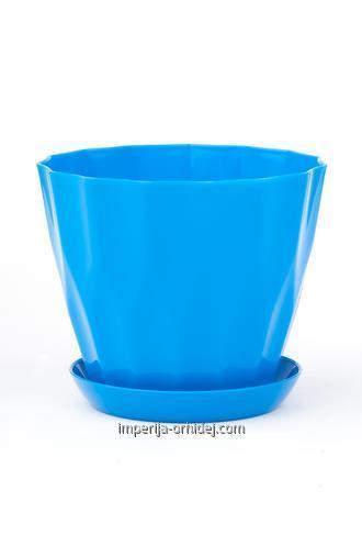 Горшок Карат с подставкой, голубой, d160mm