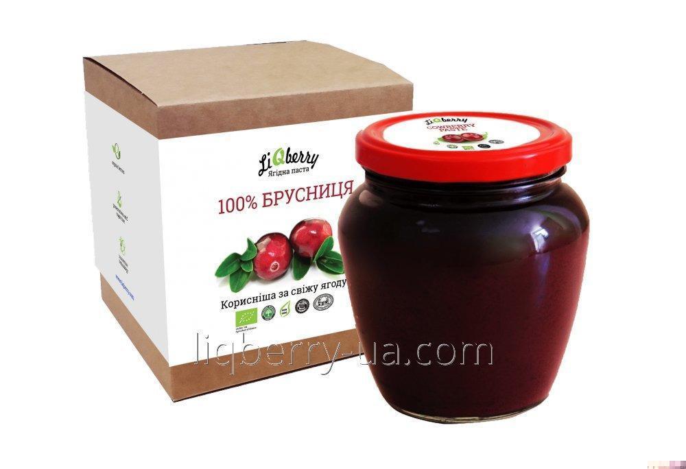 شراء Brusnichnaya عجينة من 100٪ ينجونبيري الفاكهة والسكر والماء والمواد الحافظة، وحجم 550 مل.، TM «LiQberry»