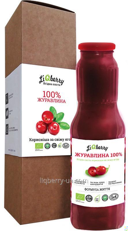 "Cranberry paste of 100% cranberry fruit, sugar, water and preservatives, volume 1 L. TM ""LiQberry"""