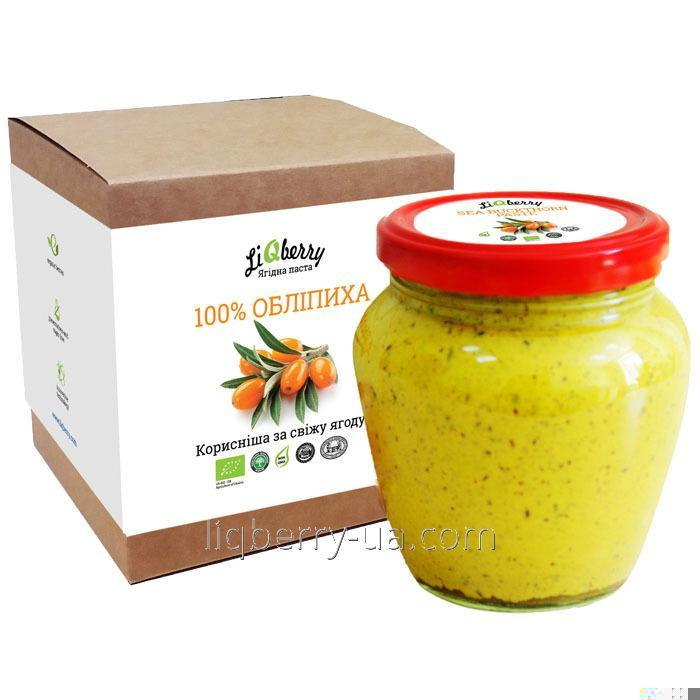 Sandthorn paste made from 100% sea buckthorn fruit, sugar, water and preservatives, volume 0.550 L., TM «LiQberry»