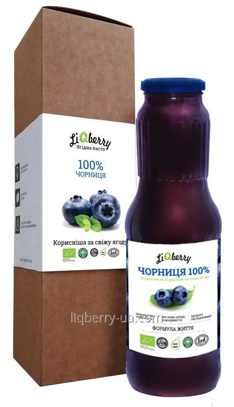 Buy Blueberry paste is made from 100% fruit blueberries, sugar and preservatives, volume 100, at TM «LiQberry»