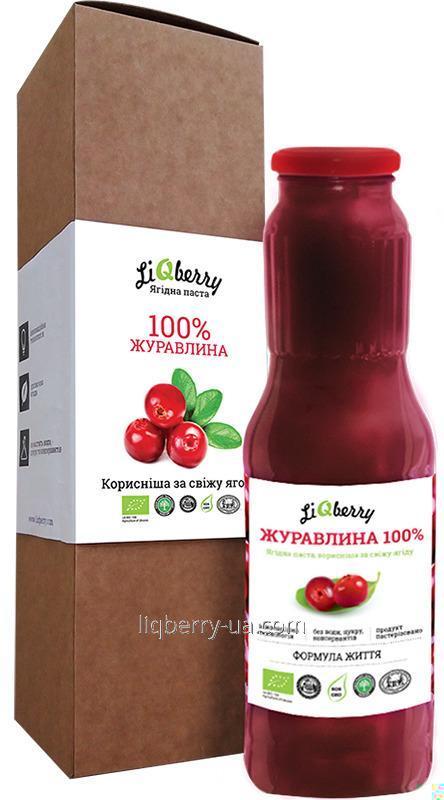 """Купить Клюквенная паста из 100% плода клюквы, без сахара, воды и консервантов, объем 1 Л., ТМ """"LiQberry"""""""