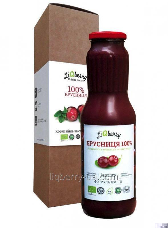 Lingonberry paste of 100% lingonberry berries, sugar, water and preservatives, 1 l., TM «LiQberry»