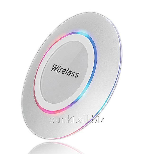Купить Беспроводное зарядное устройство SUNROZ WPB-13 с технологией QI LED Серебряный (SUN0766)
