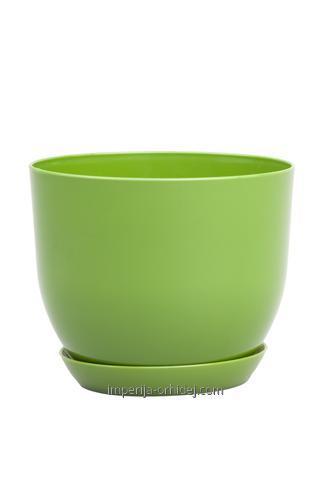 Горшок Классик с подставкой, d130mm, зелёный