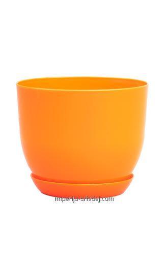 Горшок Классик с подставкой, d130, оранжевый
