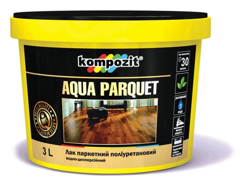 Лак паркетный AQUA PARQUET, водоразбавляемый полиуретановый лак с особой прочностью и стойкостью к истиранию