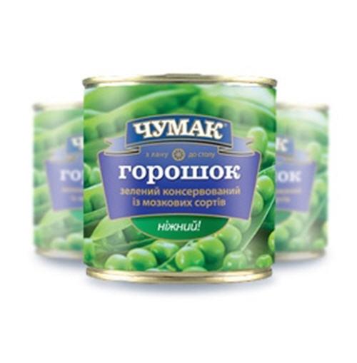 Горошек консервированный, Горошек зеленый в жестянной банке (420 г.)