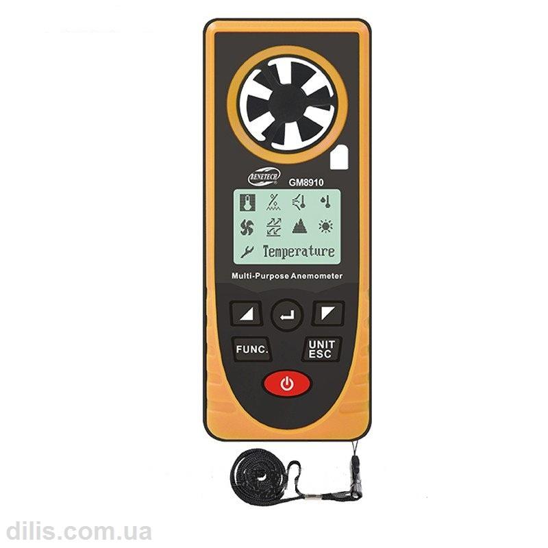 Многофункциональный прибор GM-8910 (анемометр, термометр, барометр, альтиметр, люксметр, гигрометр, точка росы)