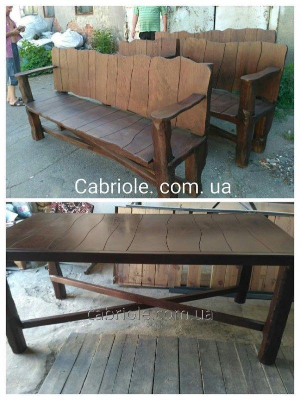 Комплект мебели из массива дуба в  беседку 2000х1000мм.