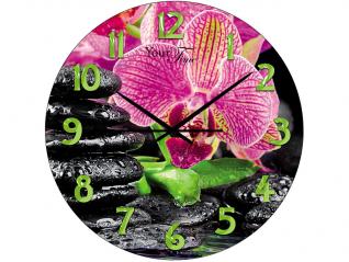 Часы настенные стекло, Орхидея, d28 см