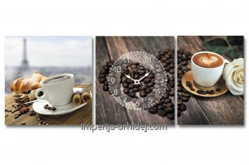 Часы настенные на холсте Кофейные 34*30см