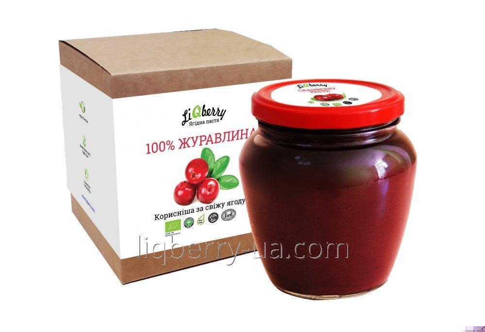 """Клюквенная паста из 100% плода клюквы, без сахара, воды и консервантов, объем 550 мл., ТМ """"LiQberry"""""""