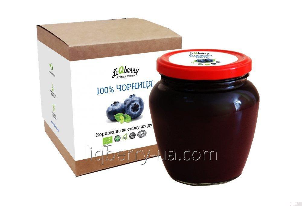 Blueberry paste of 100% blueberry fruit, sugar, water and preservatives, volume 550 ml., TM «LiQberry»