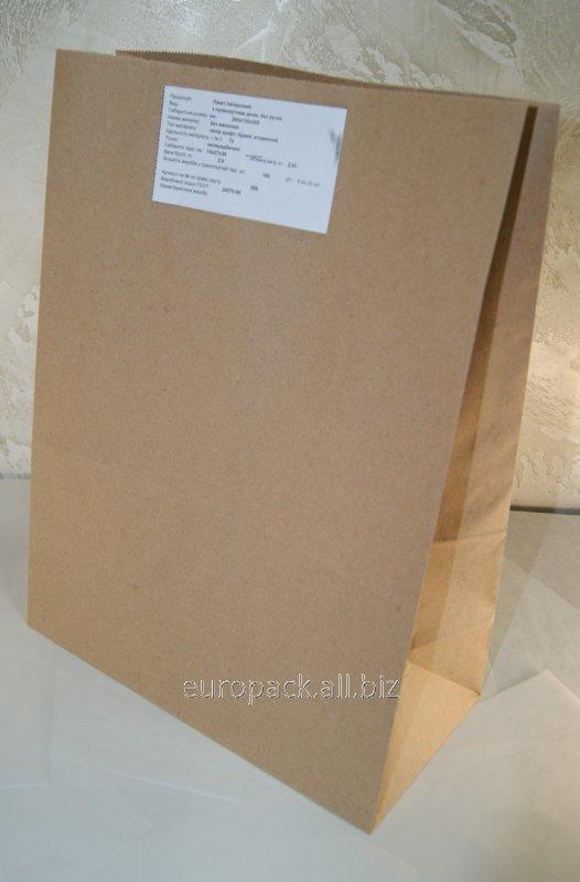 Эко-пакеты прямоугольное дно без ручек 260х130х350 вторичный крафт бурый