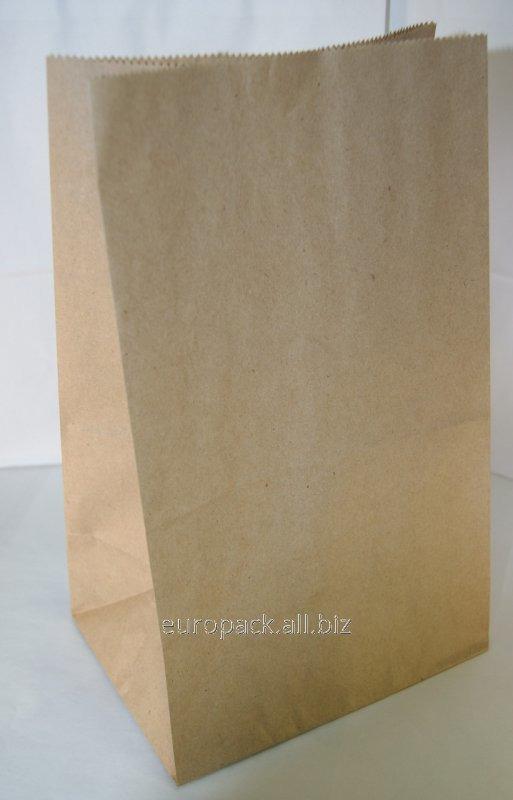Эко-пакеты прямоугольное дно без ручек 170х120х280 вторичный крафт бурый