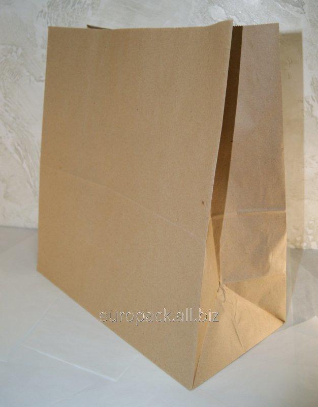 Эко-пакеты прямоугольное дно без ручек 330х160х350 вторичный крафт бурый