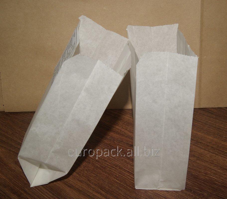 Пакет бумажный упаковочный крафт белый 170х100х60