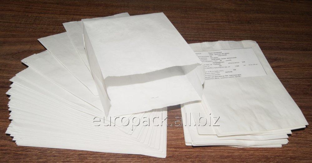 Пакет бумажный упаковочный крафт белый жиростойкий 170х120х50