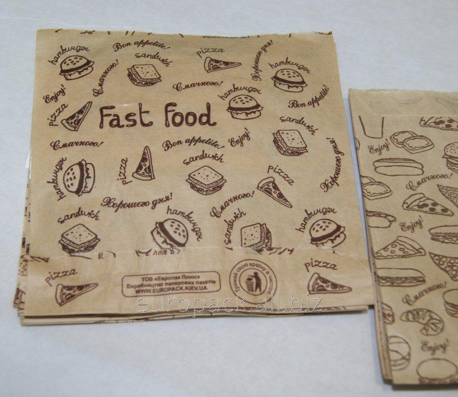 Уголок бумажный бурый крафт для бургеров эко-стиль Fast Food 140х140