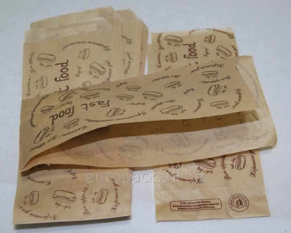 Уголок бумажный бурый крафт для хот-дога эко-стиль Fast Food 200х85