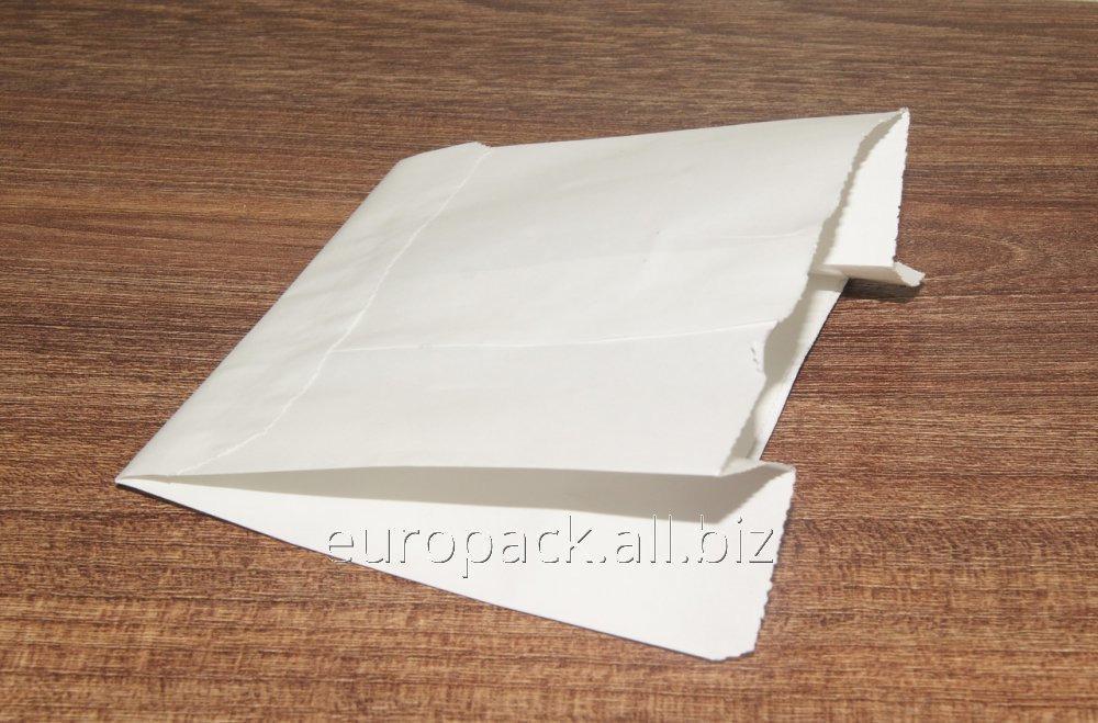 Пакет бумажный 110х100х55 крафт белый жиростойкий