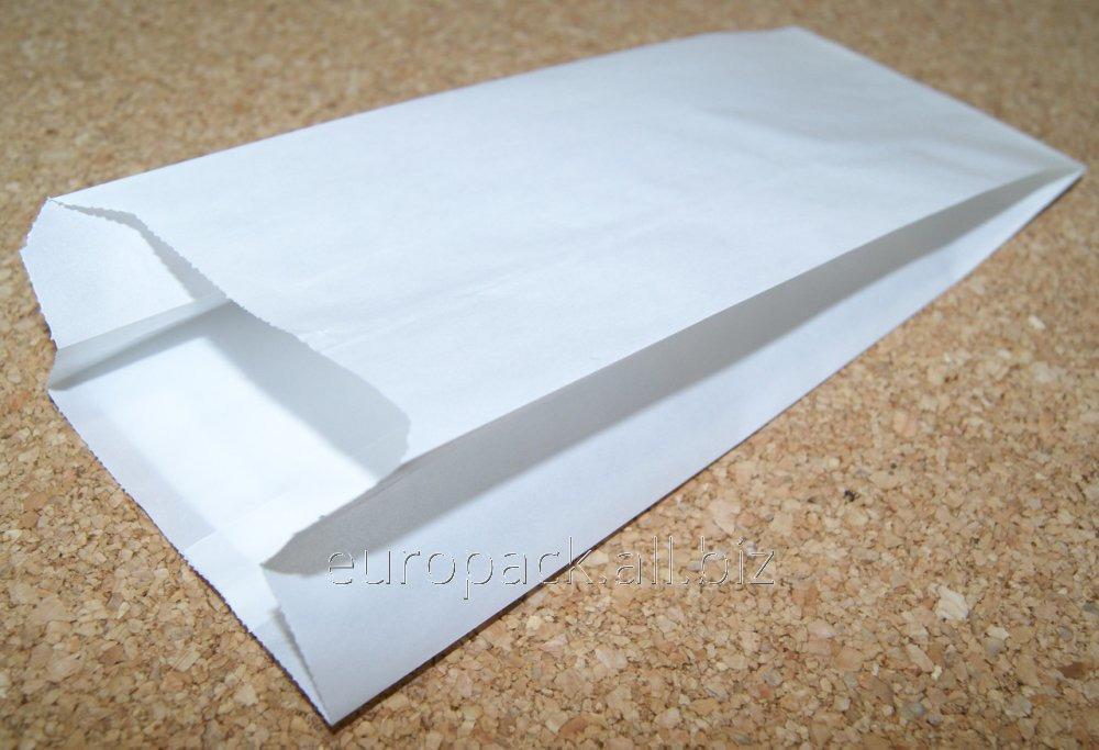 Пакет бумажный 220х90х50 крафт белый жиростойкий