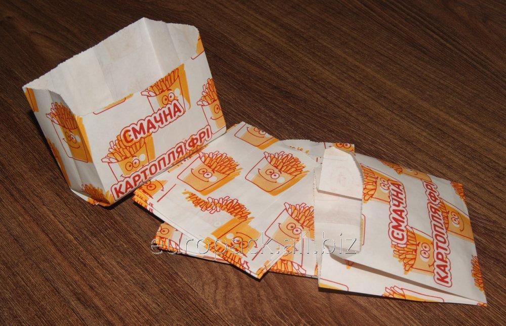 Пакет бумажный 105х100х50 крафт белый c рисунком Смайлик, картошка фри