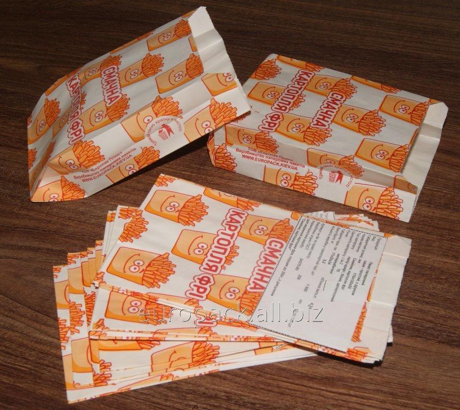 """Пакет бумажный 170х100х50 крафт белый с рисунком """"Смачна картопля фрі"""""""