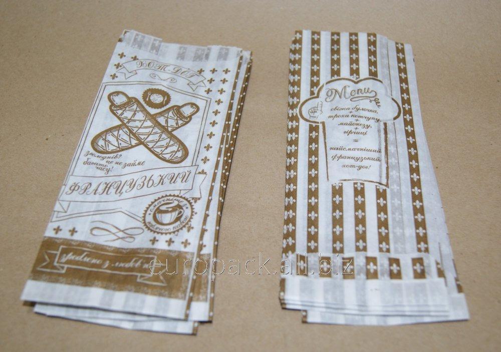 Пакет бумажный для Французского хот-дога 170х70х40 крафт белый с рисунком Зроблено з любов'ю