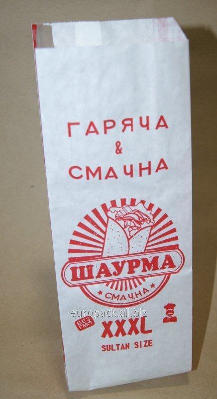 """Пакет бумажный """"Шаурма XXXL"""" 270х100х50 Крафт белый целлюлоза"""