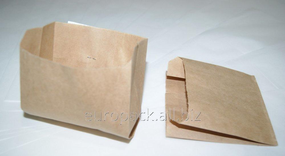 Пакет бумажный 110х100х55 крафт бурый жиростойкий