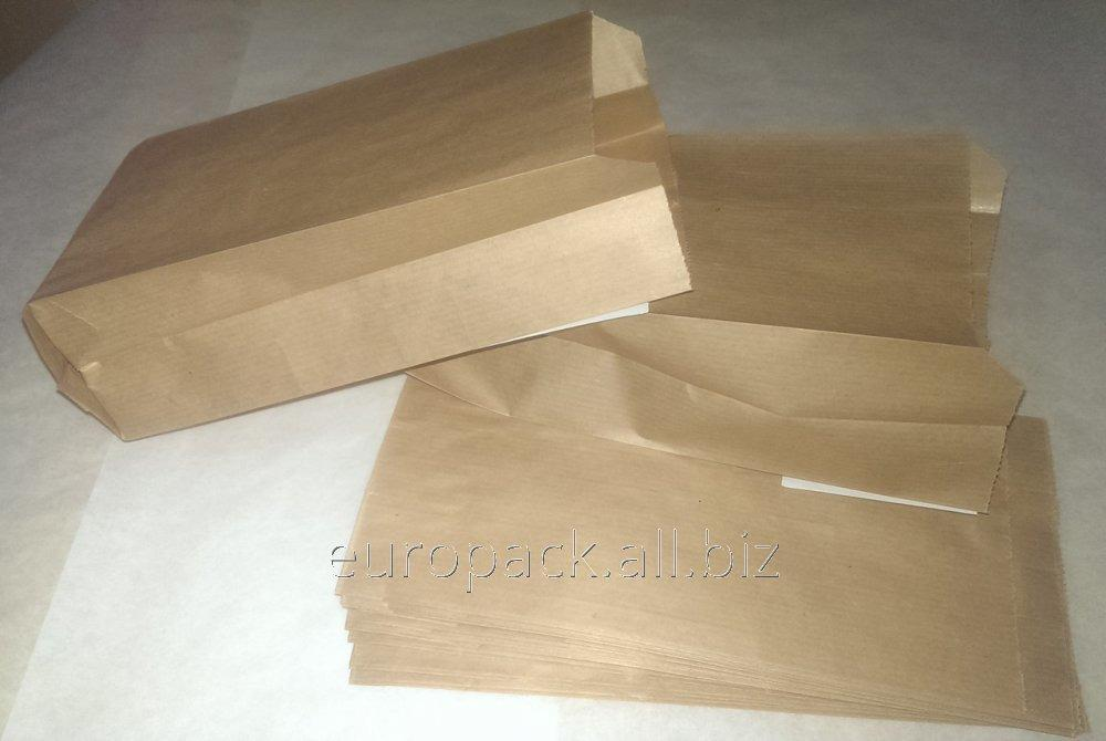 Пакет бумажный 220х100х50 крафт бурый