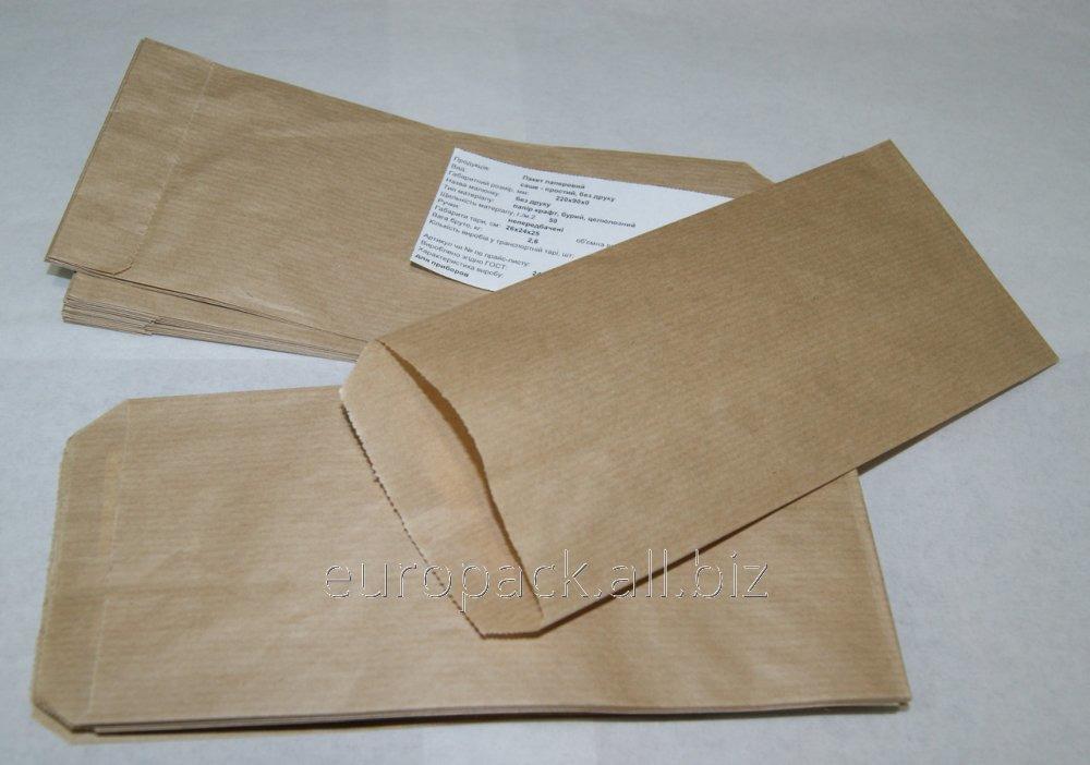 Пакет бумажный для столовых приборов 220х90х0 Крафт бурый