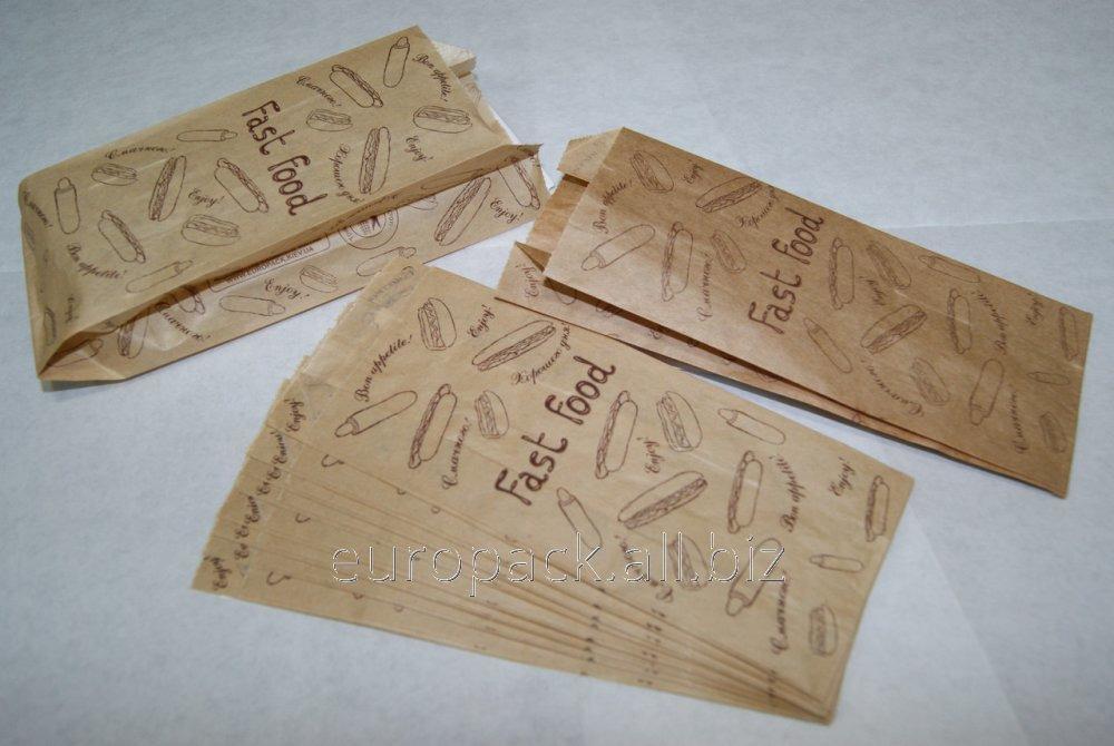 """Пакет бумажный для Французского хот-дога 170х70х40 крафт бурый с рисунком """"FAST FOOD"""""""