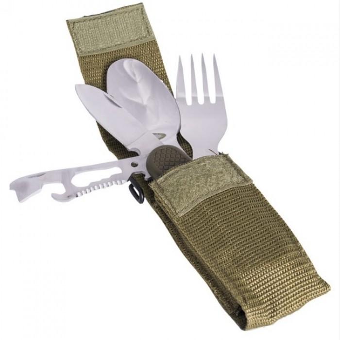 Купить Столовый туристический набор с перочинным ножом в чехле Mil-Tec