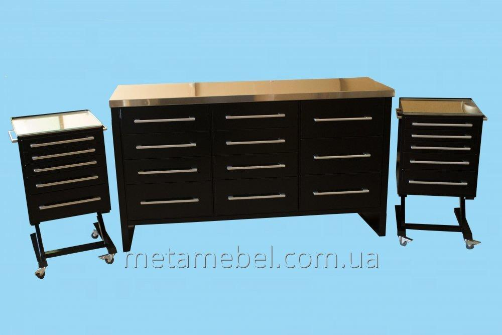 A set of furniture for the medical hall metal black