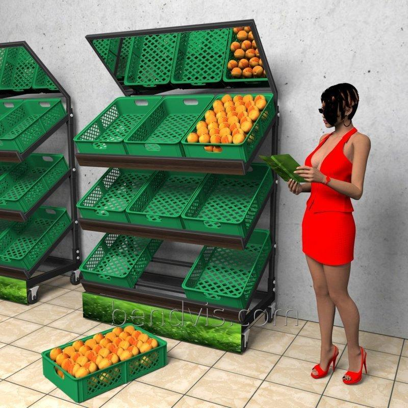 Торговый стеллаж для овощей и фруктов