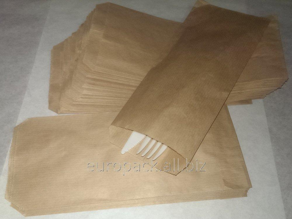 Пакет бумажный саше 220х90х0 крафт бурый