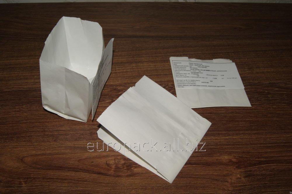 Пакет саше бумажный 110х100х55 крафт белый жиростойкий
