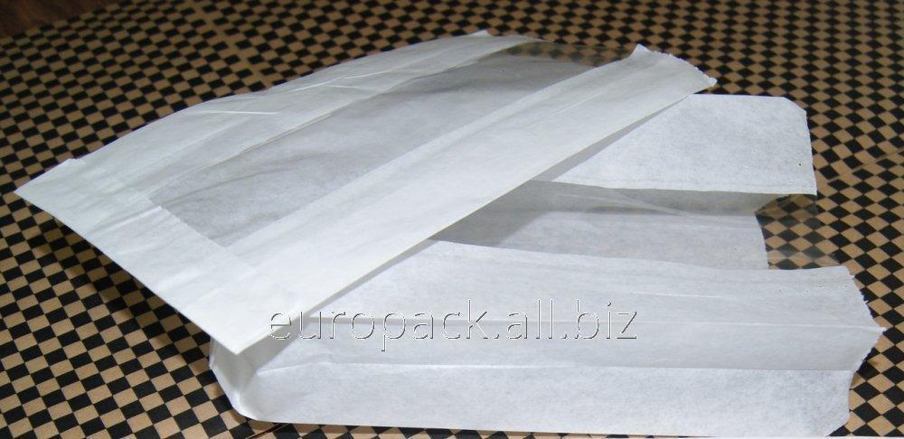 Бумажный пакет белый крафт 220х120х50 с полипропиленовой прозрачной вставкой 40 мм