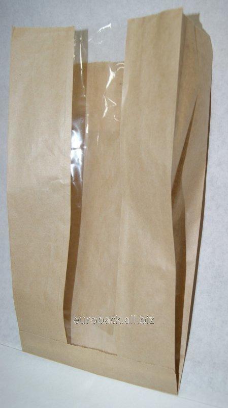 Бумажный пакет бурый крафт 310х160х80 с полипропиленовой прозрачной вставкой 60 мм
