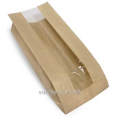 Бумажный пакет бурый крафт 390х140х50 с полипропиленовой прозрачной вставкой 60 мм