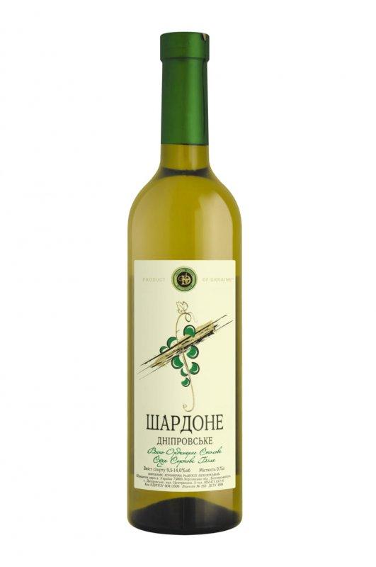 """Вино  """"Шардоне Днепровское"""" сухое белое 0,75л."""