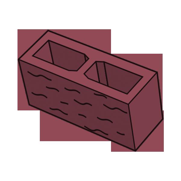 Блок заборный колотый 140 красный