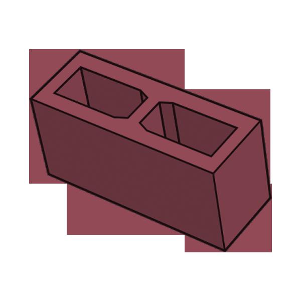 Блок заборный гладкий 140 красный