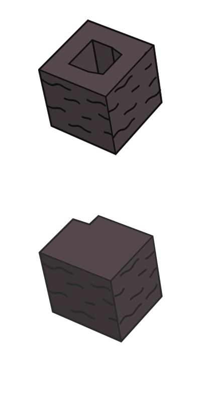 Блок заборный угловой, коричневый
