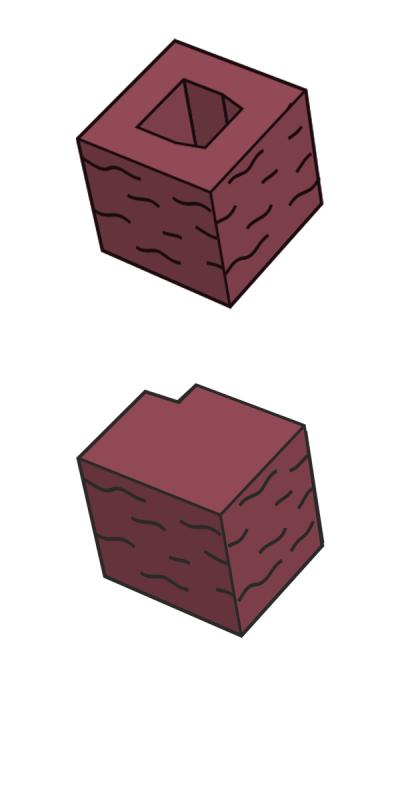 Блок заборный угловой, красный