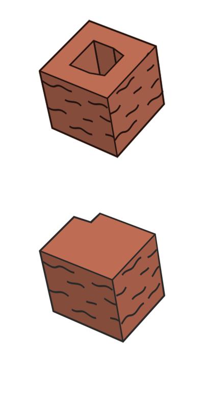 Блок заборный угловой, терракотовый