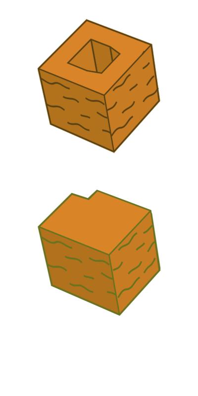 Блок заборный угловой, оранжевый